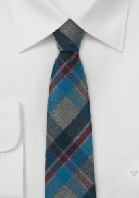 Skinny Flannel Tie with Charcoal and Navy Plaid