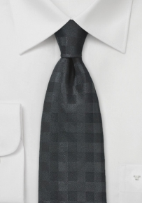 Black Colored Tie with Subtle Gingham Check
