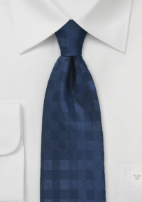 Solid Navy Blue Tie with Gingham Check