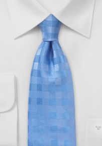 Gingham Check Necktie in Soft Blue