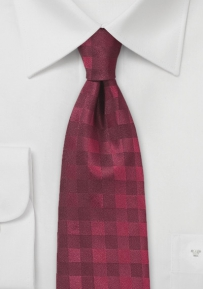 Wine Red Gingham Check Necktie