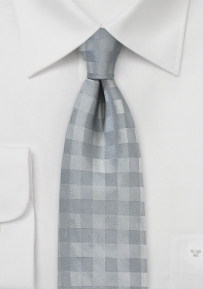 Gingham Necktie in Silver and Gray