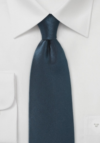 Dark Blue Silk Tie with Vertical Ribbs