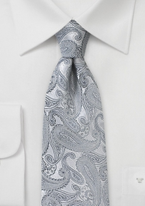 Fine Silk Paisley Tie in Bright Silver