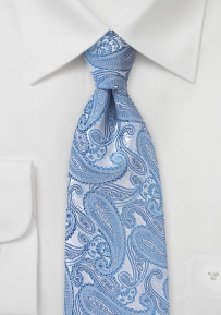 Summer Sky Colored Paisley Silk Tie