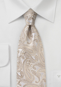 Solid Champagne Colored Paisley Silk Tie
