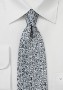 All Over Paisley Silk Tie in Silver Gray