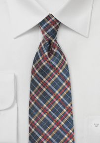 Plaid Silk Tie in Blue, Gold, and Bright Red