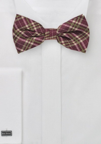 Tartan Plaid Bowtie in Burgundy and Bright Green