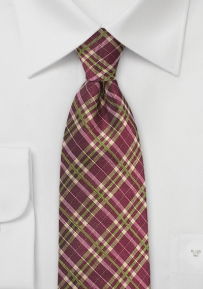 Plaid Silk Tie in Wine Red and Lime Green