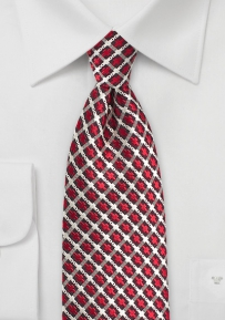 Retro Check Silk Tie in Red, Silver, and Black