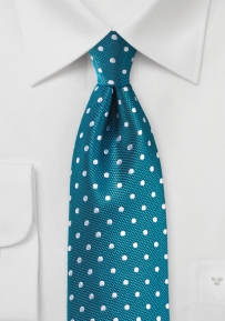 Peacock and Silver Polka Dot Tie