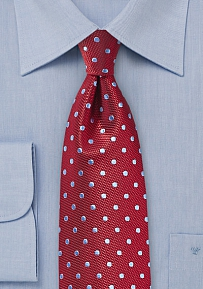 Cherry Silk Tie with Light Blue Polka Dots