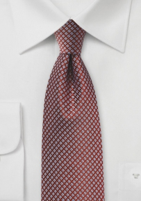 Copper Designer Tie with Blue Checks