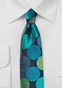 Large Polka Dotted Skinny Tie in Blue and Teal
