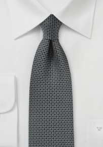 Black Silk Tie with Woven Geometric Circles