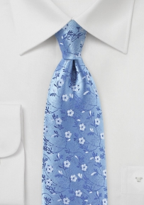 Flower Woven Silk Tie in Sky Blue