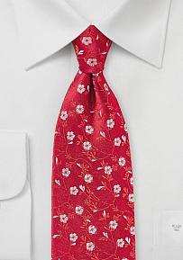 Bold Red Floral Design Silk Tie