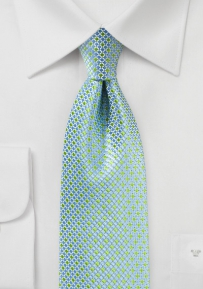 Mini Check Tie in Kelly Green and Light Blue