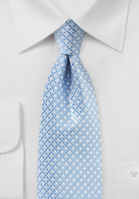 Light Blue Mens Necktie with Mini Check Design