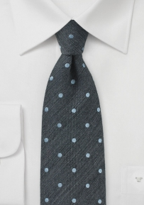 Pewter Polka Dot Tie in Raw Silk