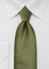 Solid XL Size Tie in Rich Olive Green