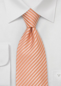 Striped XL Necktie in Tangerine-Orange
