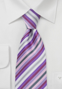 Striped XL Tie in Lavender Purple
