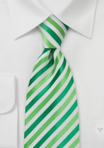 Modern Green and White Extra Long Tie