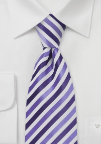 Striped XL Length Tie in Purples and Whites