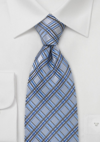 Trendy Sky Blue Checkered Tie