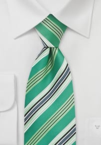 Kelly-Green and Silver Striped Tie