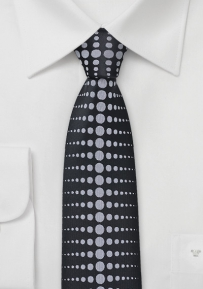 Skinny Tie with Dots in Black and Grey