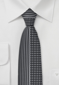 Skinny Tie in Black and Silver