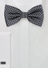 Gingham Plaid Bow Tie in Silver and Gray