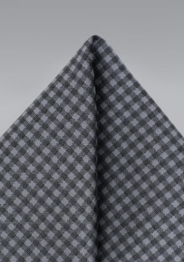Micro Gingham Check Pocket Square in Silver and Gray