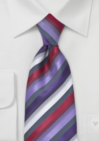 Striped Tie in Greys, Purples and Reds