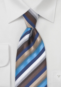 Multi-Color Striped Tie in Blues