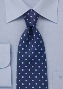 Dark and Light Blue Polka Dot Tie