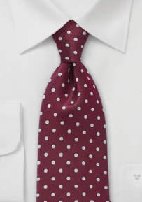 Polka Dot Tie in Aged Burgundy
