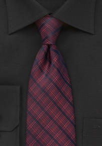 Modern Plaid Tie in Black and Red