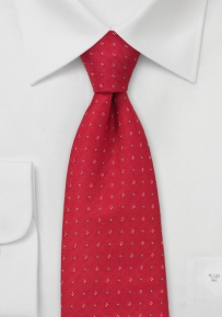 Scarlet Red Tie with Micro Floral Pattern