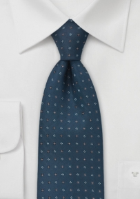 Square Patterned Tie in Caspian Blue
