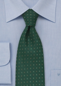 Floral Pattern Tie in Hunter Green