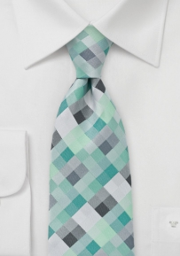 Diamond XL Length Tie in Mint Greens