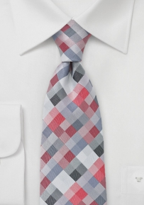 Extra Long Designer Tie in Red and Silver