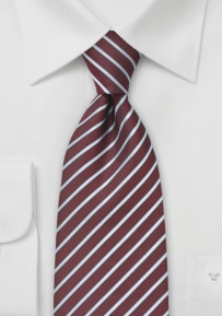 Burgundy Tie with Silver Stripes
