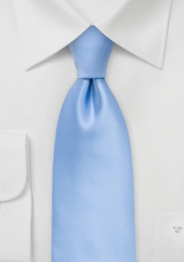 Solid Hydrangea Blue Tie Made in Long Length