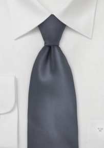 Dark Charcoal Grey Tie in Long Size