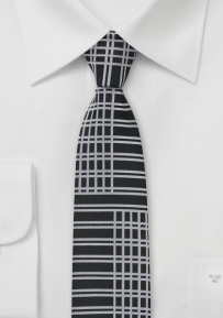 Art Deco Skinny Tie in Black